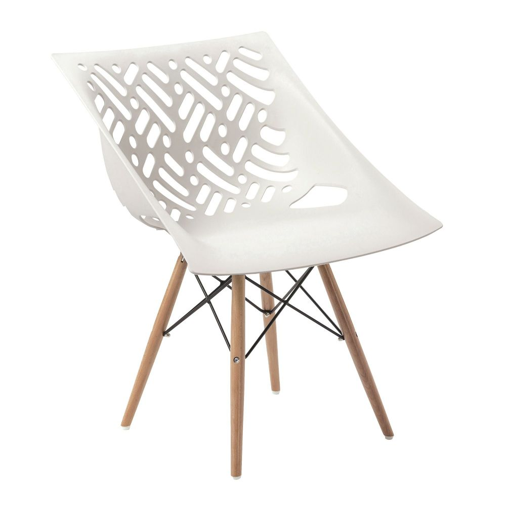 Latte TWO Stylish lightweight Poly Chair with Solid Beech Legs in White